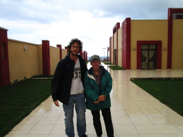 The author with fellow New Mexican Lora Lucero in Gaza City—Photo by Andy Beale