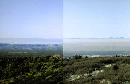 A low haze day at Mesa Verde (left) vs. a high haze day (right)