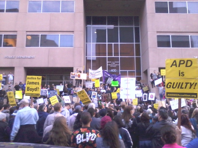 Protesters at the APD headquarters Downtown —Credit: Robin Brown